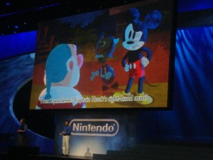 Epic Mickey in action at the Nintendo press conference on Tuesday.