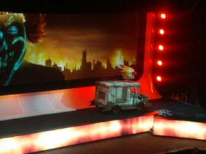 Sweet Tooth emerges on stage for the Twisted Metal announcement.