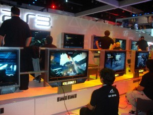 Players test out Killzone 3 in the Sony booth.