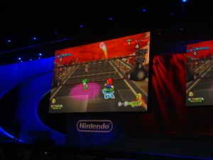 Mario Sports Mix gets underway during the Nintendo event.
