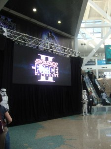 This trailer, plus the Stormtroopers, slowed down traffic between the south and west halls...