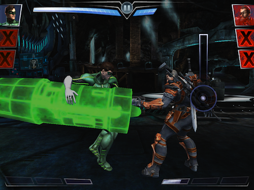 Level up your characters to equip cool attacks like the Green Lantern's girder...