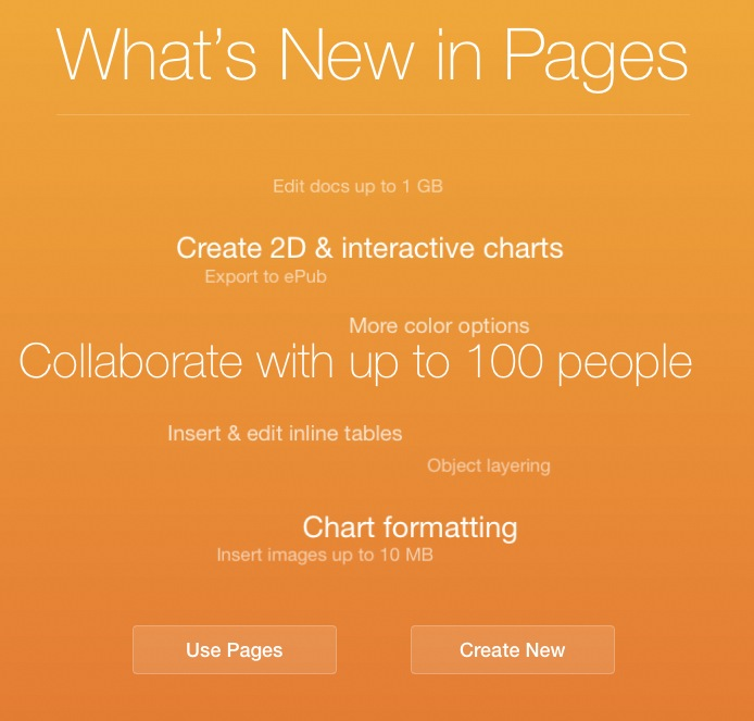 New Pages iCloud feature screen
