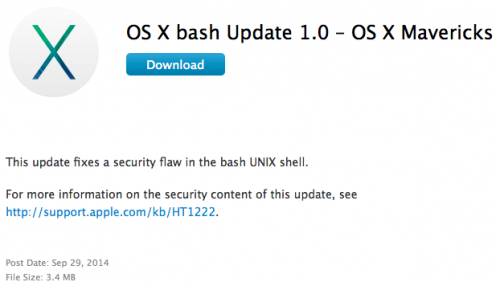 OS X bash Update 1.0 for OS X Mavericks released to address Shellshock bug on Macs
