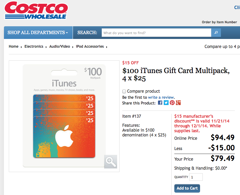 Costco offering 20 percent off iTunes gift cards