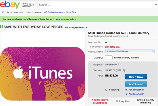 25 percent off iTunes gift cards