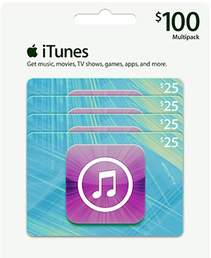 iTunes $100 gift card multipack