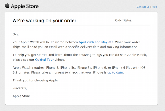 "Apple Store email: ""We're working on your order"" - Jason O'Grady"