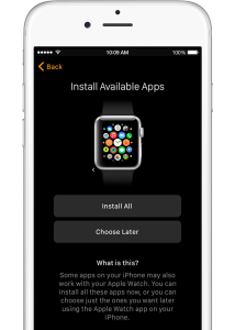 Apple Watch iOS app: Tap Choose Later to sync only basic information like Mail, Contacts, and Messages.