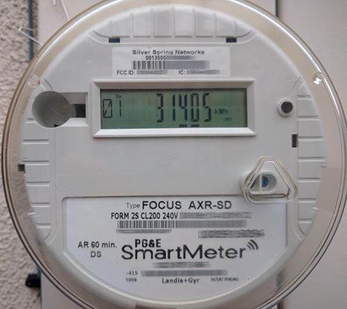 PG&E smart meter attached to the side of my home.
